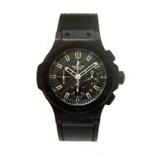 Hublot Big Bang Chronograph Swiss Valjoux 7750 Movement PVD Case with Black Dial-Black Strap-Sapphire Glass