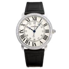 Cartier Classic Diamond Bezel with White Dial-Leather Strap