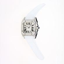 Cartier Santos 100 Swiss ETA Movement with White Dial-White Leather Strap