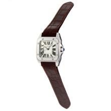 Cartier Santos 100 Swiss ETA Movement with White Dial-Brown Leather Strap