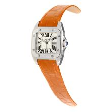 Cartier Santos 100 Swiss ETA Movement with White Dial-Orange Leather Strap