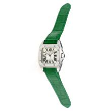 Cartier Santos 100 Swiss ETA Movement with White Dial-Green Leather Strap