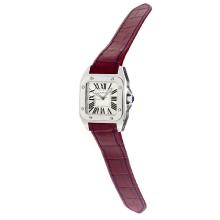 Cartier Santos 100 Swiss ETA Movement with White Dial-Dark Purple Leather Strap