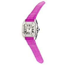 Cartier Santos 100 Swiss ETA Movement with White Dial-Purple Leather Strap