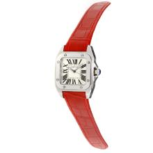 Cartier Santos 100 Swiss ETA Movement with White Dial-Red Leather Strap