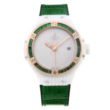 Hublot Big Bang Swiss ETA 2836 Movement Rose Gold Bezel Ceramic Case with White Dial-Green Strap-Sapphire Glass