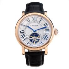 Cartier Classic Automatic Tourbillon Rose Gold Case with White Dial-Leather Strap-1