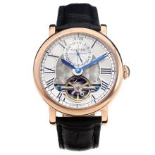 Cartier Classic Automatic Tourbillon Rose Gold Case with White Dial-Leather Strap