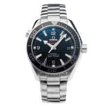 Omega Seamaster Swiss ETA 2824 Automatic Black Bezel with Black Dial S/S-Stick Markers-Sapphire Glass
