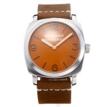 Panerai Radiomir Unitas 6497 Movement with Orange Dial-Leather Strap