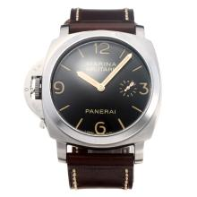 Panerai Luminor Marina Militare Unitas 6497 Movement Left Watch Crown with Black Dial-Leather Strap