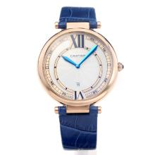 Cartier Classic Rose Gold Case with White Dial-Blue Leather Strap