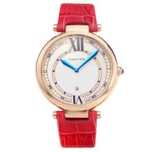 Cartier Classic Rose Gold Case with White Dial-Red Leather Strap