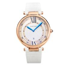 Cartier Classic Rose Gold Case with White Dial-White Leather Strap-1