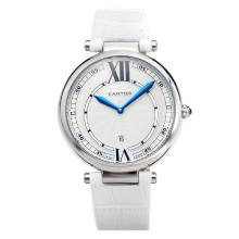 Cartier Classic with White Dial-White Leather Strap-1