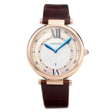 Cartier Classic Rose Gold Case with White Dial-Brown Leather Strap