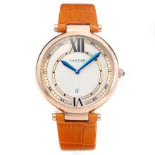 Cartier Classic Rose Gold Case with White Dial-Orange Leather Strap