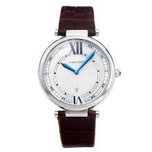 Cartier Classic with White Dial-Brown Leather Strap