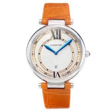 Cartier Classic with White Dial-Orange Leather Strap