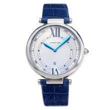 Cartier Classic White Dial with Blue Hands-Blue Leather Strap