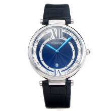 Cartier Classic with Black Dial-Black Leather Strap