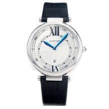 Cartier Classic with White Dial-Black Leather Strap