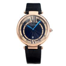 Cartier Classic Rose Gold Case with Black Dial-Leather Strap