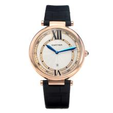 Cartier Classic Rose Gold Case with White Dial-Black Leather Strap