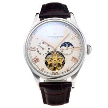 Vacheron Constantin Tourbillon Automatic Rose with White Dial-Leather Strap