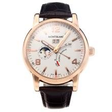 Montblanc Classic Working Power Reserve Automatic Rose Gold Case with White Dial-Leather Strap
