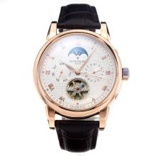 Patek Philippe Classic Automatic Tourbillon Rose Gold Case with White Dial-Leather Strap-1