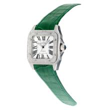 Cartier Santos 100 Swiss ETA 2813 Automatic Movement Diamond Case with White Dial-Green Leather Strap