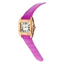 Cartier Santos 100 Swiss ETA Movement Rose Gold Case with White Dial-Purple Leather Strap-Sapphire Glass