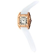 Cartier Santos 100 Swiss ETA Movement Rose Gold Case with White Dial-White Leather Strap-Sapphire Glass