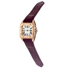 Cartier Santos 100 Swiss ETA Movement Rose Gold Case with White Dial-Dark Purple Leather Strap-Sapphire Glass