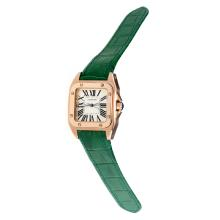 Cartier Santos 100 Swiss ETA Movement Rose Gold Case with White Dial-Green Leather Strap-Sapphire Glass