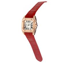Cartier Santos 100 Swiss ETA Movement Rose Gold Case with White Dial-Red Leather Strap-Sapphire Glass