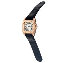 Cartier Santos 100 Swiss ETA Movement Rose Gold Case with White Dial-Black Leather Strap-Sapphire Glass