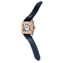 Cartier Santos 100 Swiss ETA Movement Rose Gold Case with White Dial-Blue Leather Strap-Sapphire Glass