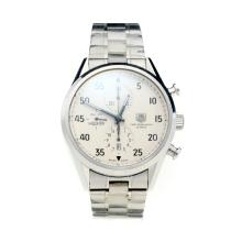 Tag Heuer Carrera Chronograph Swiss Valjoux 7750 Movement with White Dial S/S