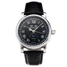 Montblanc Classic Automatic with Black Dial-Leather Strap-1
