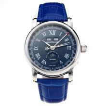 Montblanc Classic Automatic Blue Dial with Roman Marking-Blue Leather Strap