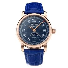 Montblanc Classic Automatic Rose Gold Case with Blue Dial-Blue Leather Strap