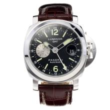 Panerai Luminor Marina Working GMT Swiss Valjoux 7750 Movement with Black Dial-Brown Leather Strap