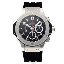 Hublot Big Bang Chronograph Asia Valjoux 4100 Movement with Black Dial-Rubber Strap-Sapphire Glass