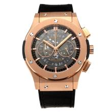 Hublot Big Bang Working Chronograph Rose Gold Case with Gray Dial-Black Strap