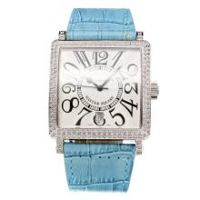 Frank Muller Master Square Swiss ETA 2836 Movement Diamond Case with White Dial-Sky Blue Leather Strap-Sapphire Glass