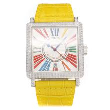 Frank Muller Master Square Swiss ETA 2836 Movement Diamond Case with White Dial-Yellow Leather Strap-Sapphire Glass