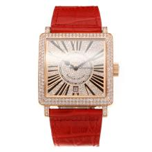 Frank Muller Master Square Swiss ETA 2836 Movement Diamond Rose Gold Case with Diamond Dial-Red Leather Strap-Sapphire Glass