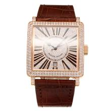 Frank Muller Master Square Swiss ETA 2836 Movement Diamond Rose Gold Case with Diamond Dial-Brown Leather Strap-Sapphire Glass